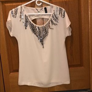 Cream, beaded, polyester backless shirt